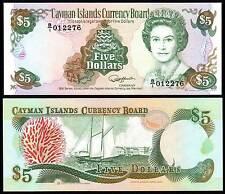 CAYMAN ISLANDS 5 DOLLARS (P12a) 1991 QEII UNC