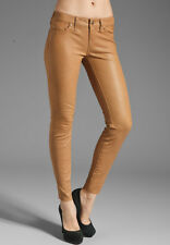 RAG AND BONE LEATHER SKINNY CAMEL BROWN PANTS W27 UK 8/10