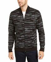 Alfani Mens Sweater Black Size Large L Printed Front Full-Zipper $75 #223