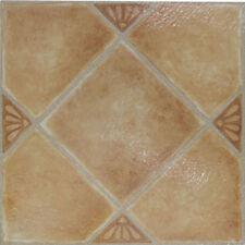 Beige Ceramic Vinyl Tile 40 Pc Adhesive Kitchen Flooring - Actual 12'' x 12''