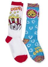 2pk Shopkins Girls Knee High Socks Sz.L 4-10 Kooky Cookie Poppy Corn - Free Ship