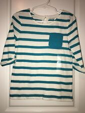 Nwt Baby Gap size 5T Blue Striped Shirt 3/4 Sleeve Shirt Top Toddler Girls