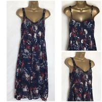 Per Una @ M&S Navy Floral Chiffon Strappy Lined Summer Dress 6 - 22 (pu-101h)