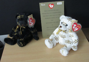 Ty Harrods Bears Starlight White With First Day Certificate And Black Bear