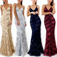 Womens Sequin V Neck Bodycon Long Maxi Dress Evening Party Cocktail Formal Prom