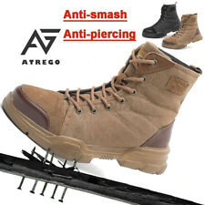 AtreGo Men Safety Work Boots High Top Steel Toe Army Combat Shoes Desert Hiking