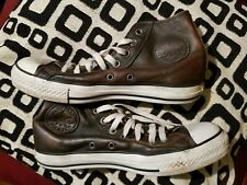 Brown Leather All Star Converse Hi-Tops Size 7 UK 40 EUR