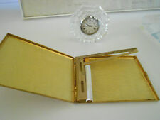 COOL GOLD PLATED SCROLL FILIGREE CIGARETTE CASE COLIBRI HOLLYWOOD REGENCY