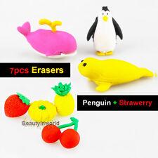 Lovely Cute Erasers of Penguin Fruits Cartoon Fashionable Children Eraser 2packs