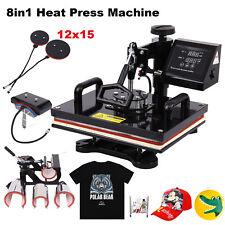 8 In 1 Digital Heat Press Machine Sublimation T-Shirt/Mug/Plate Hat Printer US