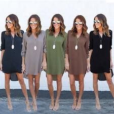 Mode Femme Décontracté En Vrac Grande Taille Elegant Robe Manches Longues