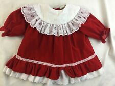 Vintage Red Velvet Frilly Big Collar Holiday Toddler Girl Dress Size 2T