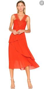 New Three Floors Cinnamon Dress Red Lace Pleat Dress Size 4