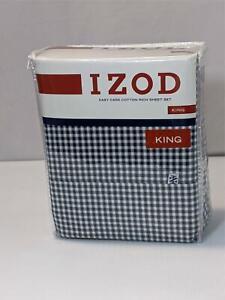 IZOD King Sheet Set Gingham Navy Blue Check 4 Pc Dress Easy Care Cotton Rich