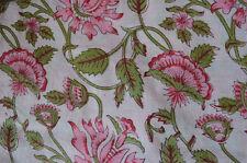 Indian Loose Craft 3 Yard Hand Block Print Sanganeri Pure Cotton Fabric Running