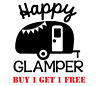 ~*~ 2 HAPPY GLAMPER Side View camping Vinyl Decal Sticker Wall Glass camper