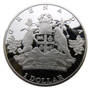 GRENADA - BRITISH CARIBBEAN 1 DOLLAR 2014 40mm PROOFLIKE 200PCS MINTAGE