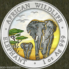 "2015 Somalian ELEPHANT ""DAY"" COLORIZED African Wildlife 1oz Silver Coin MTG=5000"
