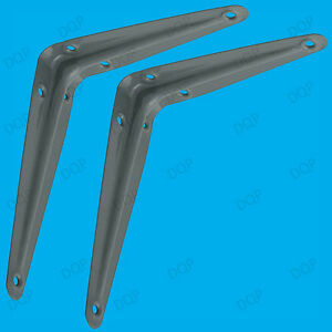 4x London Grey Metal Shelf Shelving Support Wall Mount Brackets, 8 Sizes