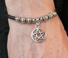 Silver Pentacle Bracelet Adjustable Black Thong Pagan Wicca Sabbat Pentagram New