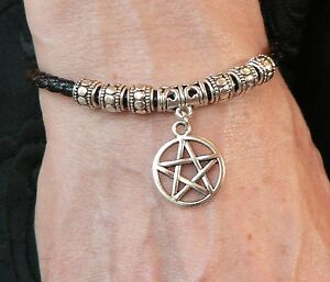 Silver Pentacle Bracelet Leather Thong Pagan Wicca Solstice Beltane Pentagram