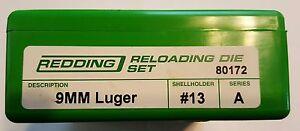 80172 REDDING 3-DIE FULL LENGTH 9MM LUGER DIE SET - BRAND NEW - FREE SHIPPING