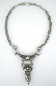 Vintage heavy sterling silver gothic punk biker chain link necklace 1990s