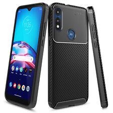For Motorola Moto E 2020 Case Ultra Sim Carbon Fiber Design TPU Phone Cover