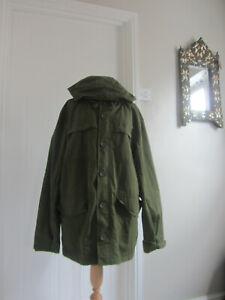 Mens Levis Khaki Parka Lined Pockets Zip Coat With Hood Size XL