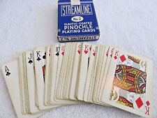 Vintage Streamline No 2 Playing Card Blue Linen Finish Bridge Size Pinochle Deck