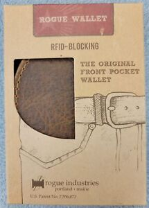 Rogue Front Pocket Wallet RFID-Blocking Brown Distressed Bison Leather in Box