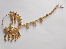 Decorated Bridal Nose Ring Indian Big Nath Piercing Jewelry With Chain Wedding