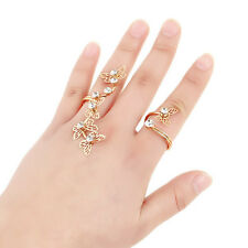 ED21 Gold Intricate Ornate Crystal Butterfly Statement Hand Ring