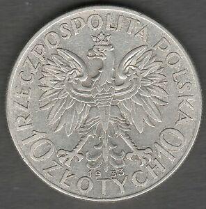Poland 10 Zlotych 1933  Queen Judwiga High Grade UNC ?? Silver coin (0321)