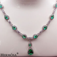 """75% OFF Genuine 925 Sterling Silver Green & White Topaz Fashion Necklace 18"""""""