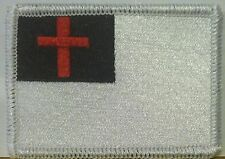CHRISTIAN Flag Embroidered Iron-On Patch Military BLACK, WHITE & RED Version