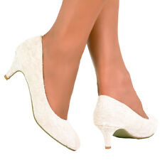 NEW IVORY LACE WEDDING BRIDAL MID KITTEN HEEL COURT PUMP SHOES UK SIZES 3 - 9