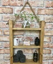 Rustic wooden hanging rope shelf solid wood kitchen bathroom shelving storage