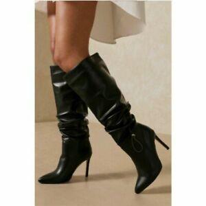 Ladies Pointy Toe Stiletto Heels Western Pleated Knee High Boots Nightclub Shoes