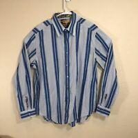 Robert Graham Long Sleeve Button Down Blue Striped Shirt Flip Cuff Men's XL