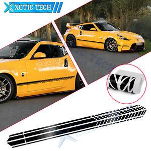 JDM Auto Side Body Door Black Decal Stripes Sticker For Nissan 370Z Altima GTR