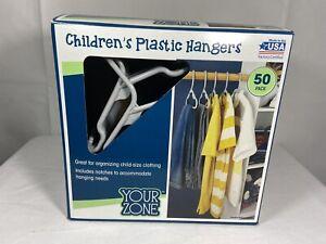 Children's Your Zone Gray Plastic Hangers 12 Inch, Pack of 50 NEW