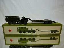 CCCP USSR MILITARY TRUCK + LOW LOADER - ARMY GREEN L24.0cm - VERY GOOD IN BOX