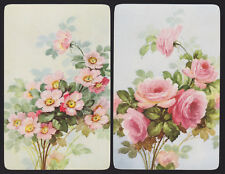 2 Single VINTAGE Swap/Playing Cards FLOWERS ROSES ID 'FLORALS FR-7-3/7-4'