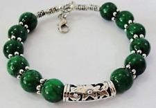 Real Hecho a Mano Verde Jade Pulsera De Plata Tibet 7.5 ~ 8 pulgadas