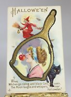 HALLOWEEN VINTAGE WITCH & WOMAN - CAT EMBOSSED POSTCARD SERIES 248E UNUSED P218