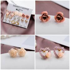 9 Pair Women Rhinestone Flower Pearl Ear Stud Simple Alloy Earrings Jewelry Sets