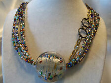AWESOME Gold & RAINBOW Glass Seed Beads w/LARGE Glass Accent Necklace 14N106