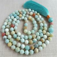 6mm Frosted Amazonite Gemstone 108 Beads Tassel Knot Necklace Spirituality