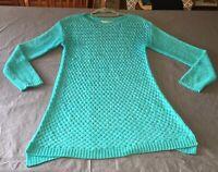 Soft Surroundings turquoise blue basket weave tunic sweater size M Medium